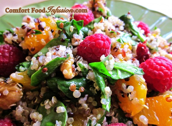 Quinoa Spinach and Raspberry Salad. An infusion of a super food grain, a super foods salad, and a super tasty raspberry vinaigrette.