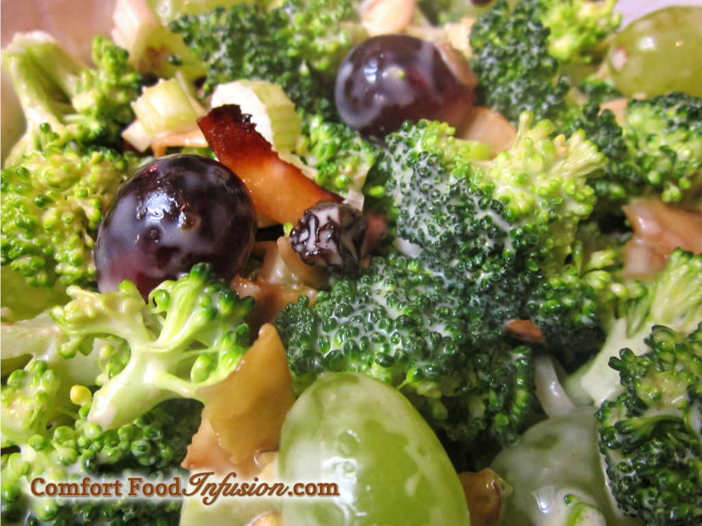 Broccoli Grape and Mock Bacon Salad.  A vegan version of a popular springtime favorite.