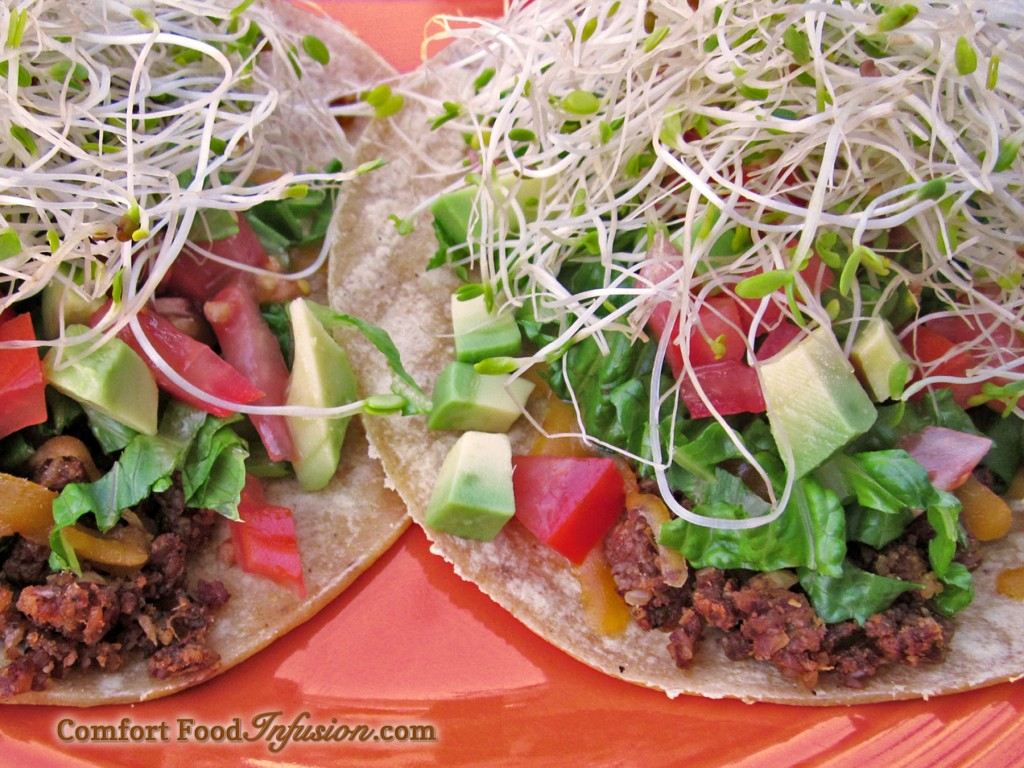 Nutty Taco. An amazingly delicious nutmeat taco made with nuts and vegetables instead of 'meat.'