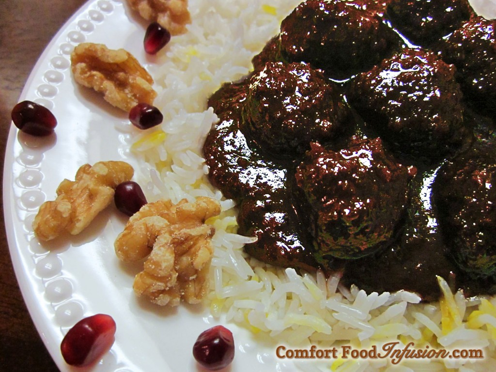 Pomegranate Walnut and Meatball Stew. (Khoresht Fesenjan) A delightful Persian dish full of wonderfully unique, sweet and sour flavor.
