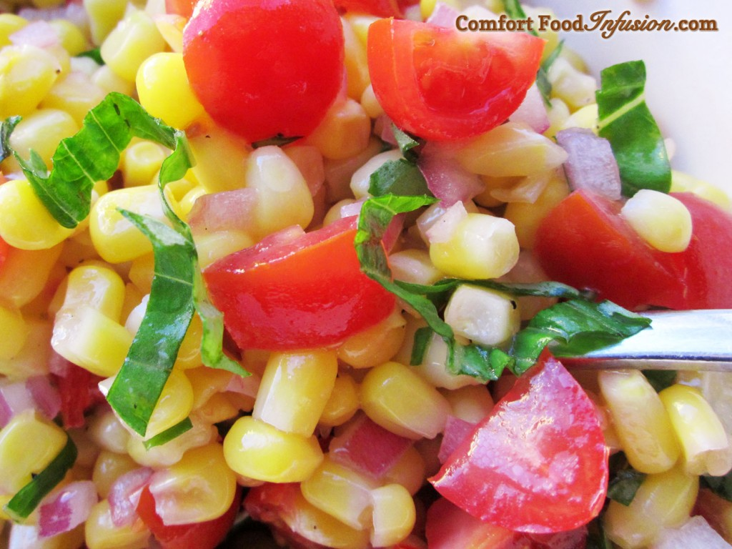 Corn and Tomato Salad. Seasoned with basil and vinegar.