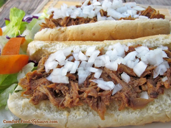 Pulled Pork. Throw it all in a crockpot!
