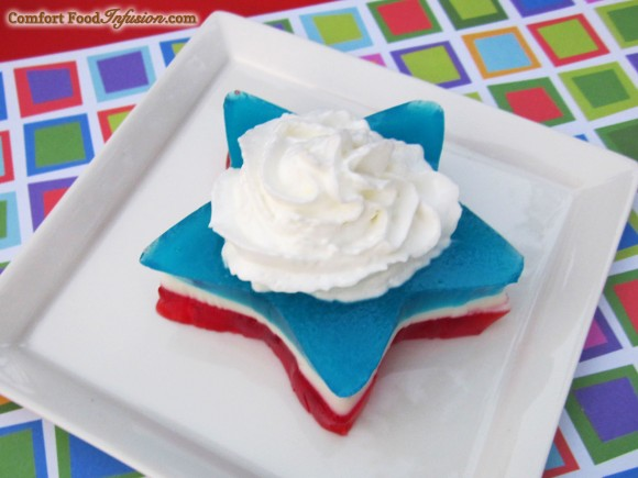 Layered Jello with yogurt in the white layer. Use any color combo!