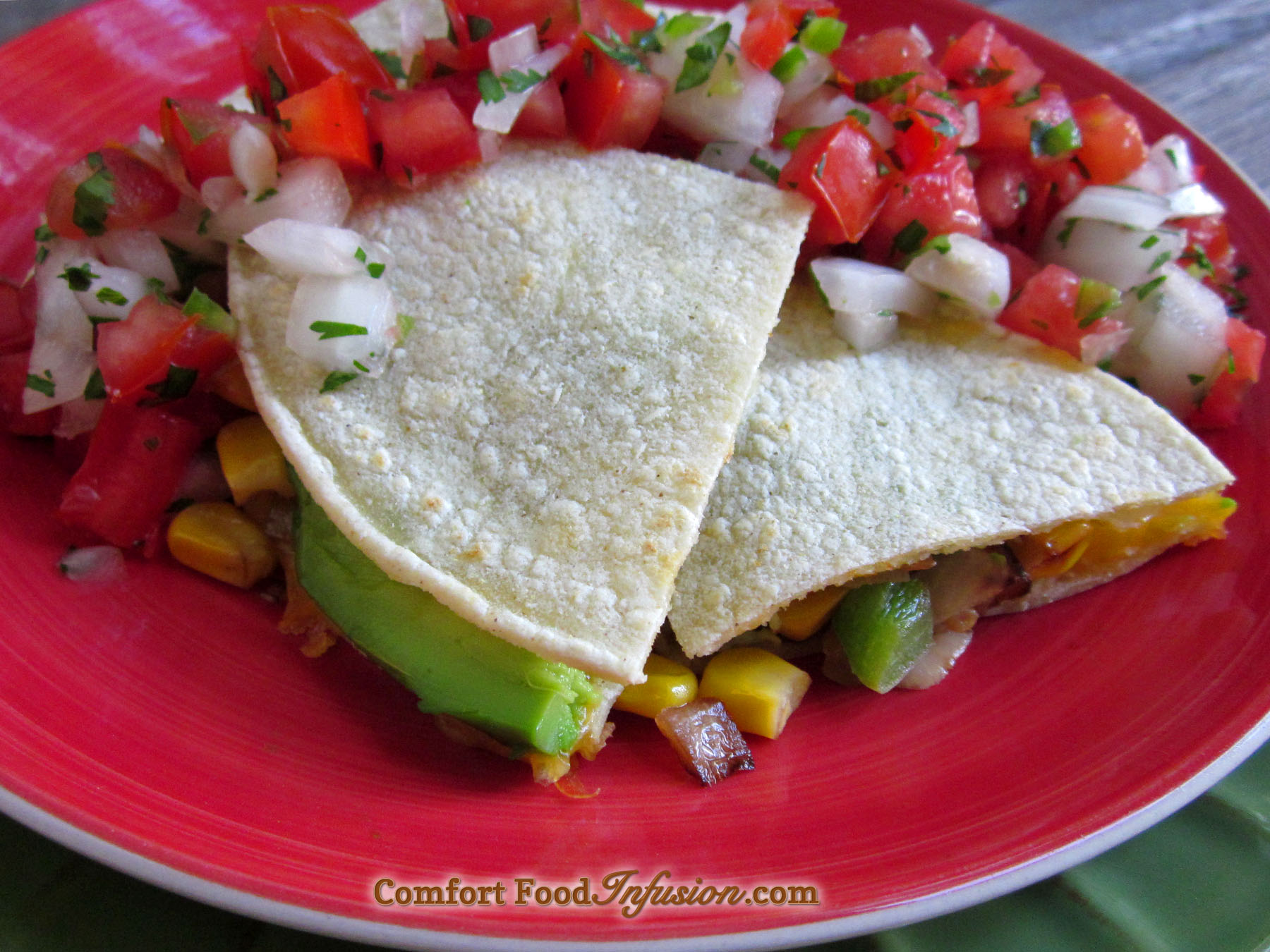 Cheese and Veggie Quesadilla, with grilled veggies, avocados, and a ...