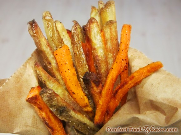 Sweet and Russet Oven Fries. Seasoned with salt, pepper and a pinch of sugar.
