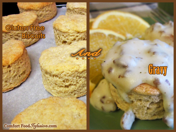 Fluffy biscuits can be made gluten free or regular. Homemade gravy tops them deliciously.
