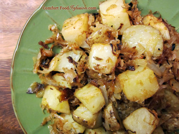 Oven Roasted Potatoes with Sauerkraut
