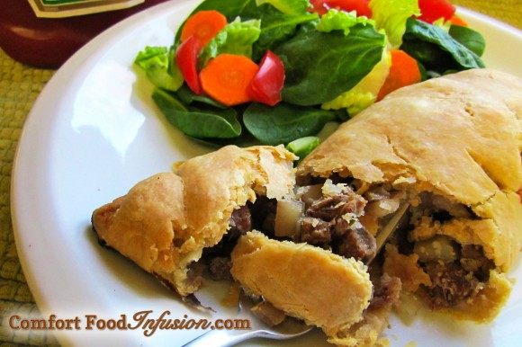Cornish Pasties. Classic comfort food. Individual pies filled with beef, potatoes and onion, and packaged in a perfect flaky shell.