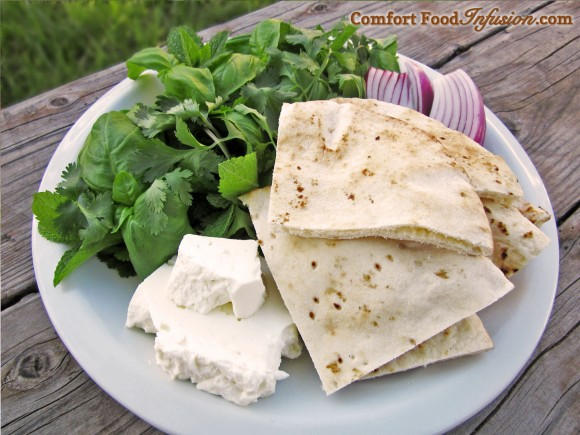 Greens and Feta with Pita. A simple snack, or even a substantial meal.