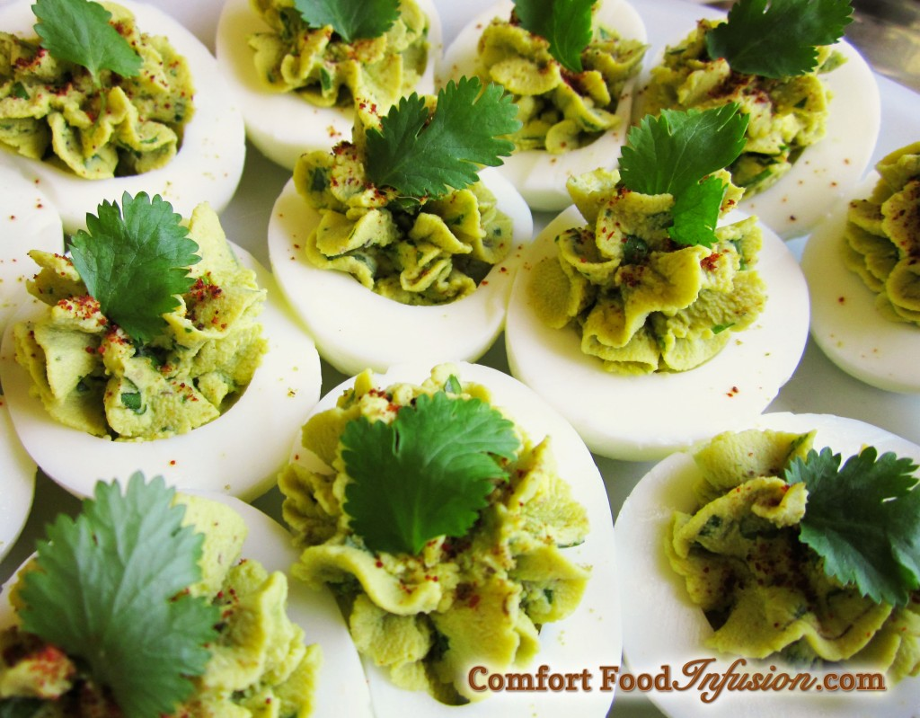 Guacamole Deviled Eggs. Avocado in place of the mayonnaise, and seasoned with a little kick.