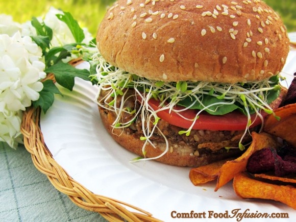 Nut Burger. An amazingly delicious meat substitute made with nuts and vegetables.