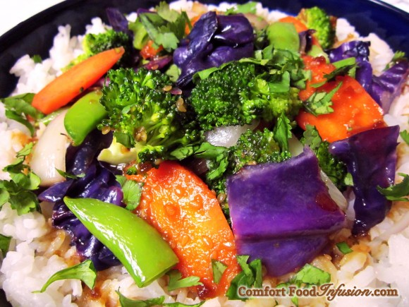 Colorful Vegetable Stir Fry. Simply stir fry and top with Trader Joe's Island Soyaki.