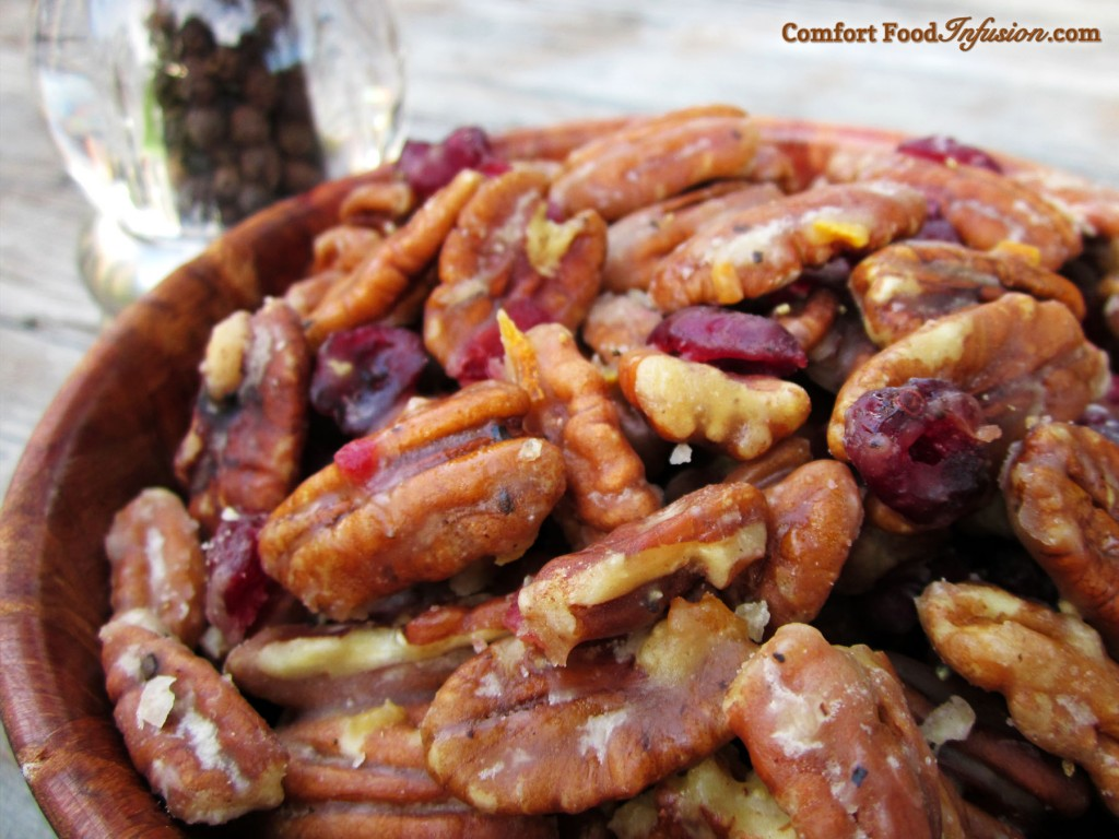 Candied Orange Pecans... With a little kick from black pepper.