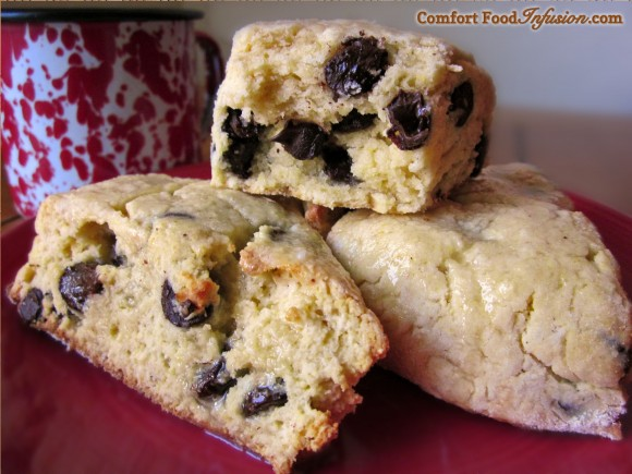 Chocolate Chip Scones. Super easy, and can be made with gluten free or regular flour.