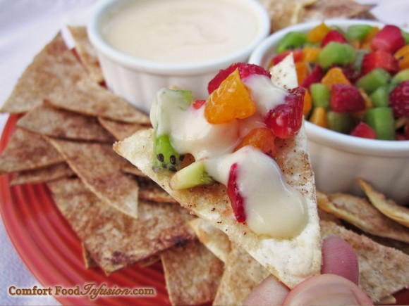 Fruit Nachos. A fresh, fruity, creamy, dessert version of nachos.
