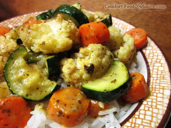 Roasted Vegetables topped with Trader Joe's Green Curry Sauce.