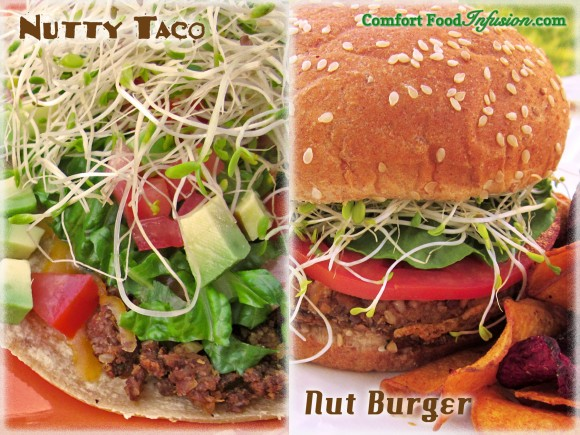 nut burger and taco