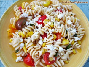 Tomato and Corn Pasta with Feta