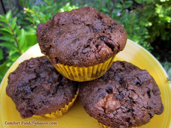 Chocolate Muffins. A copycat version of Costco's, with gluten free flour.