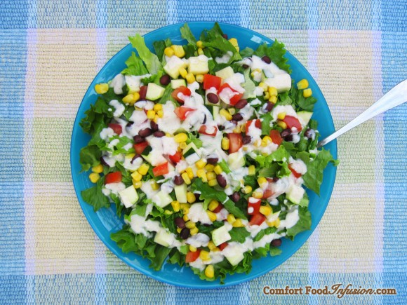Tex Mex Salad with Cumin-Yogurt Dressing