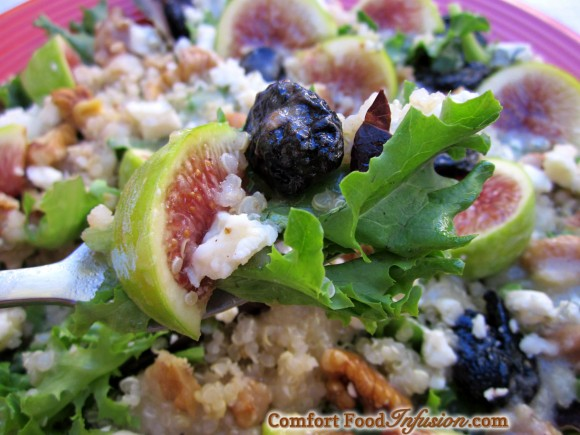 Quinoa Fig Salad with Apple Vinaigrette. Topped with dried cherries, walnuts and gorgonzola.