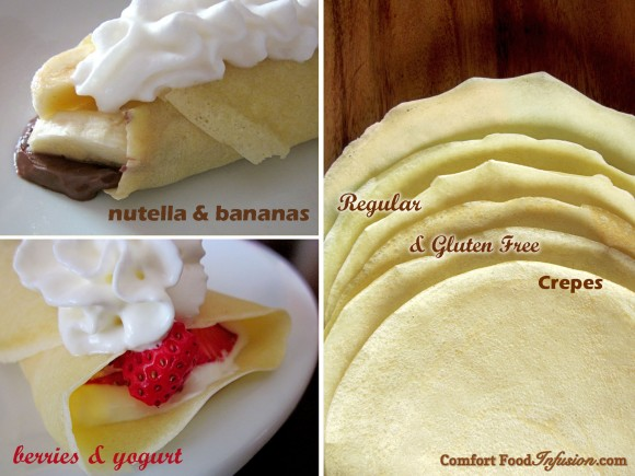 Crepes. Super thin fill-able pancakes made with gluten free or regular flour.