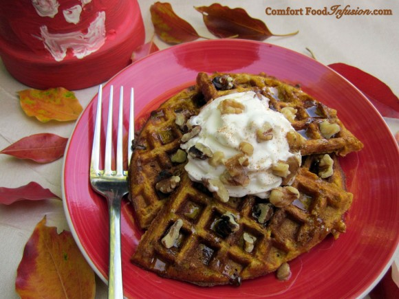 Pumpkin Waffles. A gluten free and wheat flour version.