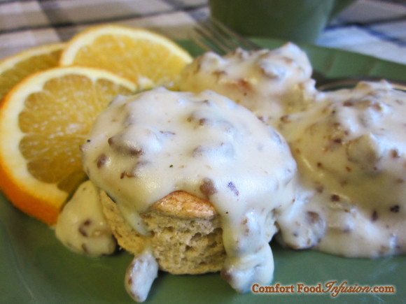 Sausage gravy over biscuits. Can be made gluten free.